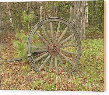 Wood Print featuring the photograph Wood Spoked Wheel by Sherman Perry