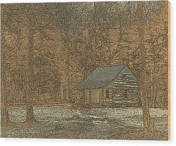 Woodcut Cabin Wood Print by Jim Finch