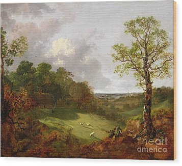 Wooded Landscape With A Cottage - Sheep And A Reclining Shepherd Wood Print by Thomas Gainsborough