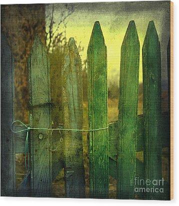 Wooden Barrier Wood Print by Bernard Jaubert