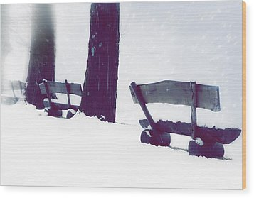 Wooden Benches In Snow Wood Print by Joana Kruse