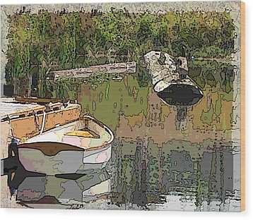 Wooden Boat Placid Wood Print by Tim Allen