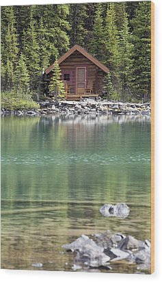 Wooden Cabin Along A Lake Shore Wood Print by Michael Interisano
