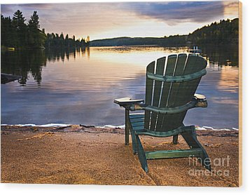 Wooden Chair At Sunset On Beach Wood Print by Elena Elisseeva