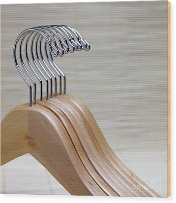 Wooden Clothes Hangers Wood Print by Skip Nall