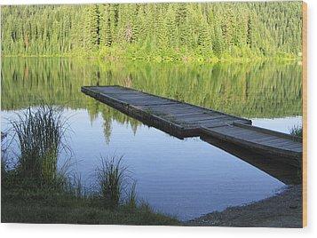 Wooden Dock On Lake Wood Print by Anne Mott