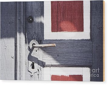 Wood Print featuring the photograph Wooden Doors With Handle In Blue by Agnieszka Kubica