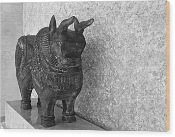 Wooden Hand Carved Ornamental Bull Wood Print by Kantilal Patel