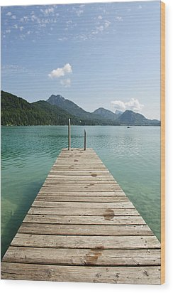 Wooden Jetty Out To Lake Fuschl Wood Print by Buero Monaco