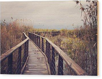 Wooden Path On The Lake Wood Print by Copyright Anna Nemoy(Xaomena)