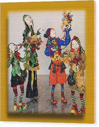 Wooden People Wood Print by Nataly Fomina