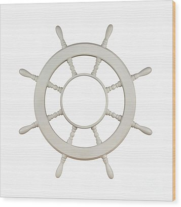Wooden Sail Boat Wheel Wood Print by Blink Images