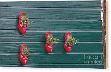 Wood Print featuring the digital art Wooden Shoes On Teh Wall by Carol Ailles