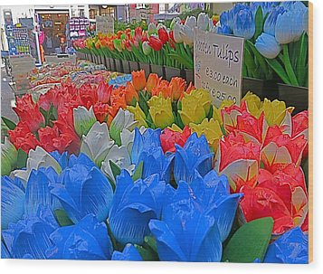 Wooden Tulips Wood Print