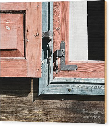 Wood Print featuring the photograph Wooden Windows Shutters In Coral by Agnieszka Kubica