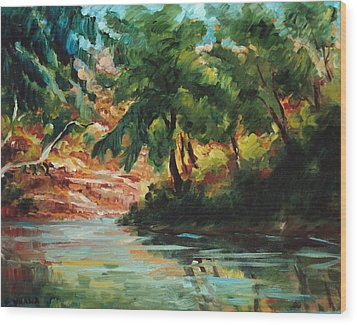 Woodland Stream Wood Print by Ethel Vrana