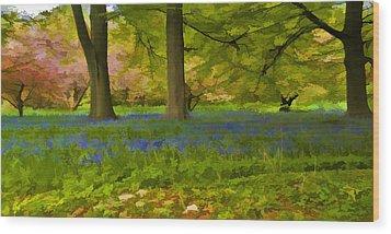 Woodland Watercolour Wood Print by Trevor Kersley