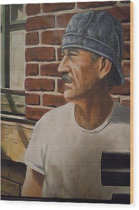 Wood Print featuring the painting Worker At Union Switch And Signal by James Guentner