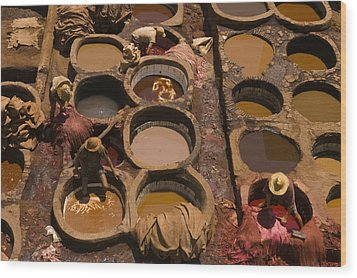 Workers In The Tanneries Of Fez Soak Wood Print by Annie Griffiths