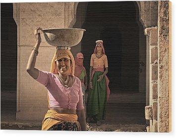 Workers Wood Print by Mostafa Moftah