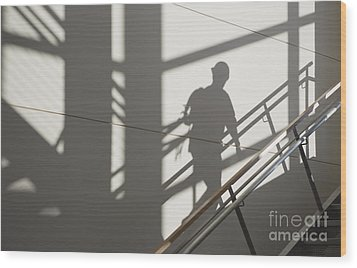 Workers Shadow In A Stairwell Wood Print by Andersen Ross