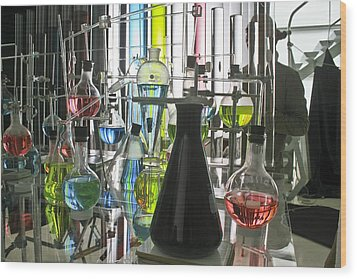 Working Laboratory Wood Print by Kantilal Patel