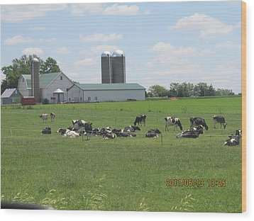 Working Milk Farm Wood Print by Tina M Wenger