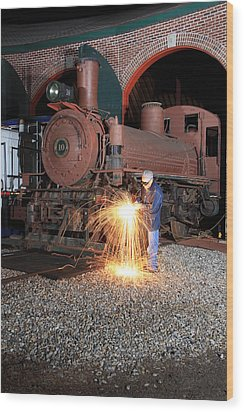 Working On The Railroad Wood Print