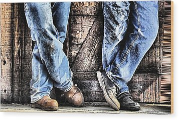 Working Shoes Wood Print by Kenneth Mucke