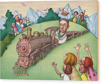World Doctor Wood Print by Autogiro Illustration