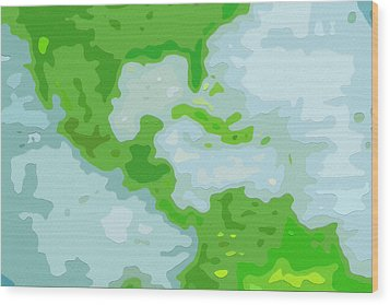 World Map - Central America-caribbean-southern United States Wood Print by Steve Ohlsen