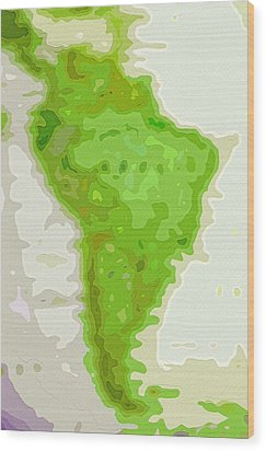 World Map - South America - Abstract Wood Print by Steve Ohlsen