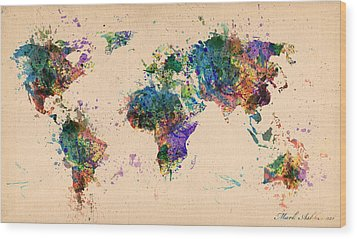 World Map 2 Wood Print by Mark Ashkenazi