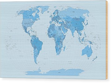 World Map Blues Wood Print by Michael Tompsett