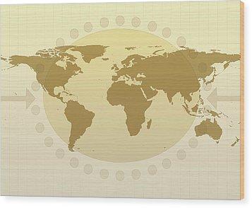 World Map Wood Print by Flatliner