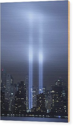 World Trade Center Memorial Lights Wood Print
