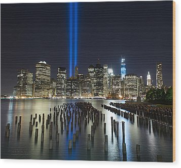World Trade Center Tribute From The Pier Wood Print by Shane Psaltis