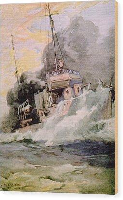 World War I, American Destoyer Laying Wood Print by Everett