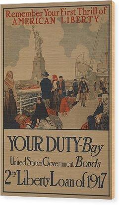 World War I Poster Aimed At Recent Wood Print by Everett