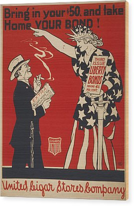 World War I, Poster Showing Liberty Wood Print by Everett