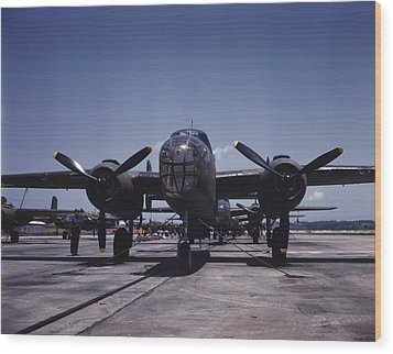 World War II, B-25 Bomber Planes Wood Print by Everett