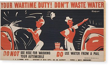 World War II, Poster For A New York Wood Print by Everett
