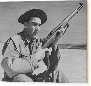 World War II, U.s. Soldier Ready Wood Print by Everett