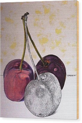Worldview Cherries Wood Print by D K Betts