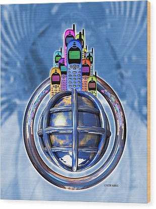 Worldwide Mobile Telephone Use Wood Print by Victor Habbick Visions