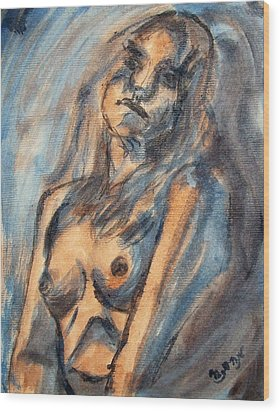 Worried Young Nude Female Teen Leaning And Filled With Angst In Orange And Blue Watercolor Acrylics Wood Print by M Zimmerman