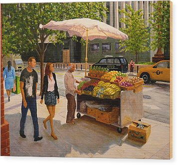 Wood Print featuring the painting Worth Street Nyc by Joe Bergholm