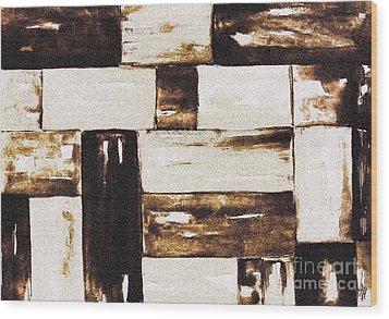 Woven Basket Wood Print by Marsha Heiken