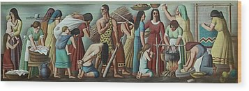 Wpa Mural. Contemporary Justice Wood Print by Everett