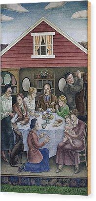 Wpa Mural. Society Freed Through Wood Print by Everett
